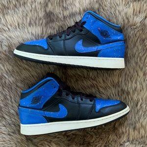 Jordan 1 one mid royal blue paint splatter 7 8.5